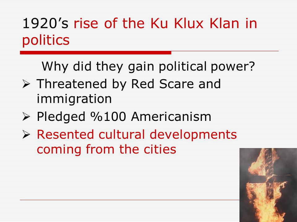 1920's rise of the Ku Klux Klan in politics