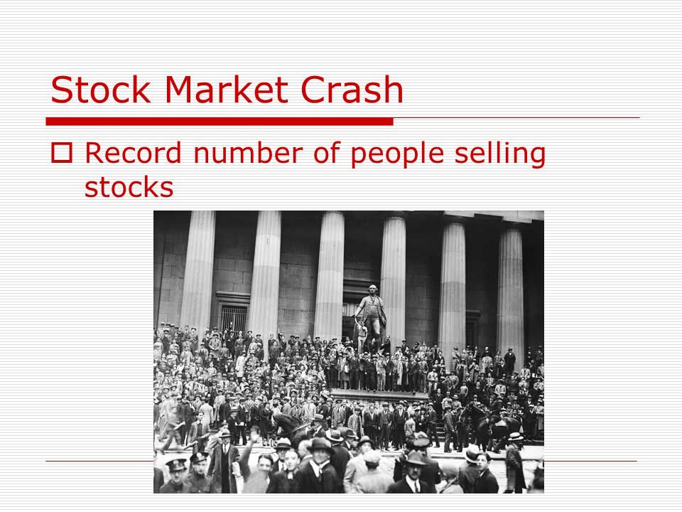 Stock Market Crash Record number of people selling stocks