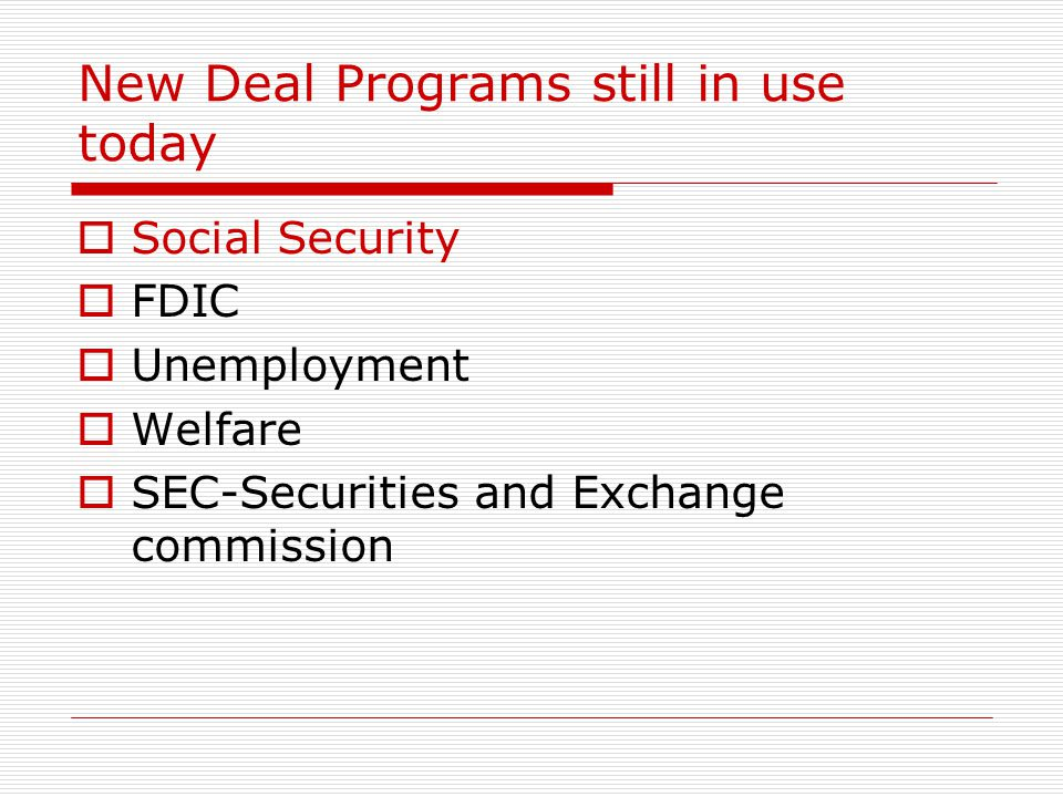 New Deal Programs still in use today