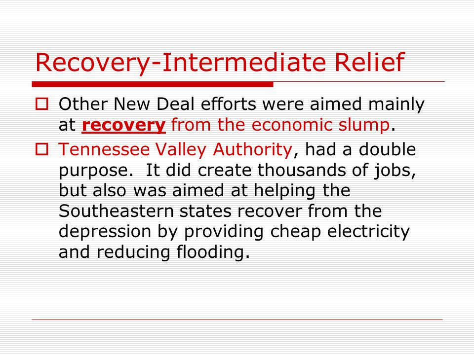 Recovery-Intermediate Relief