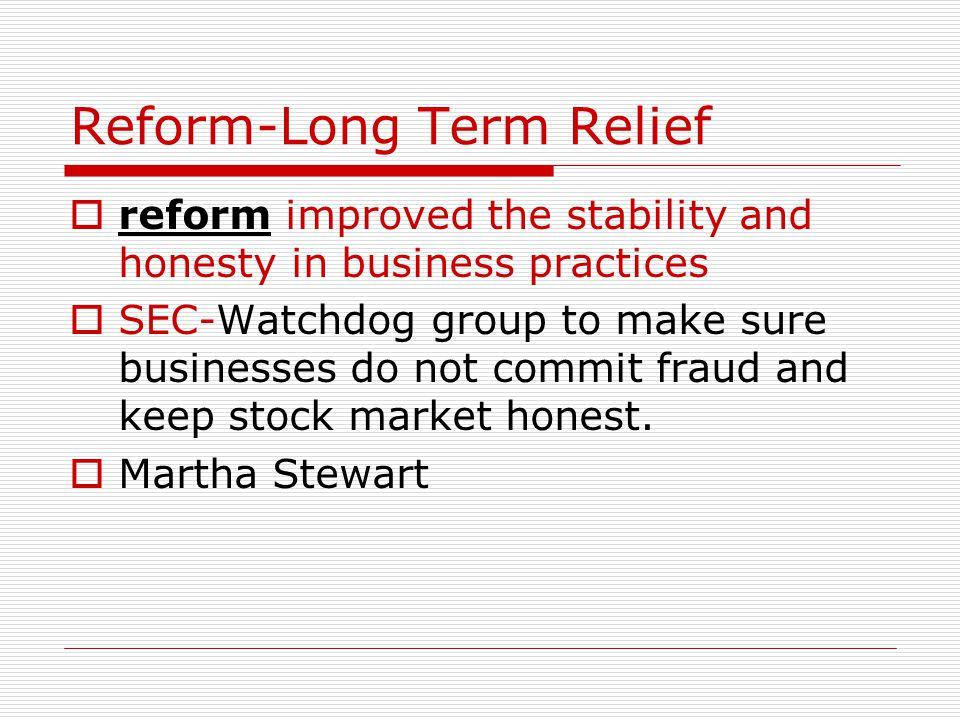 Reform-Long Term Relief