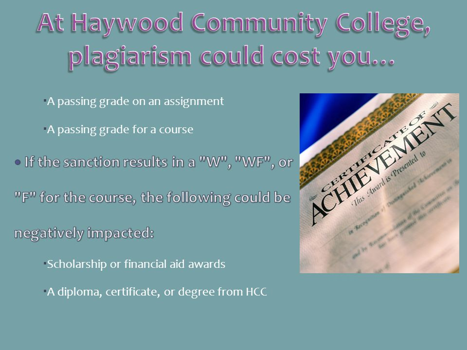 At Haywood Community College, plagiarism could cost you…