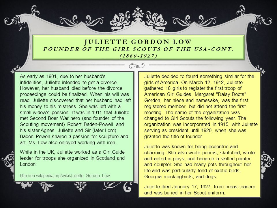 Juliette Gordon Low Founder of the Girl Scouts of the USA-Cont