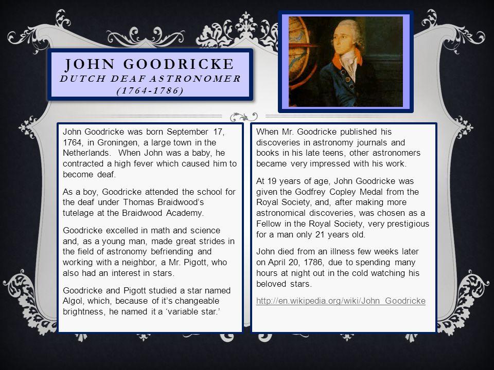 John Goodricke Dutch Deaf Astronomer (1764-1786)