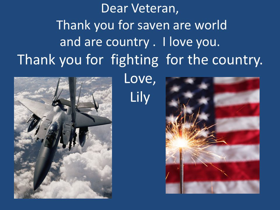 Dear Veteran, Thank you for saven are world and are country .