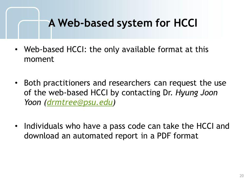 A Web-based system for HCCI