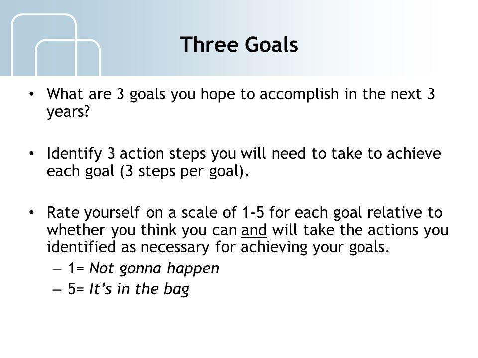 Three Goals What are 3 goals you hope to accomplish in the next 3 years