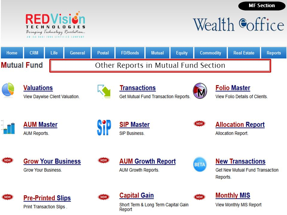 Other Reports in Mutual Fund Section