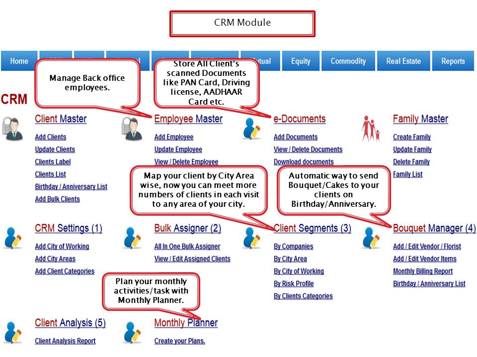 CRM Module Store All Client's Documents like PAN Card, Driving license, AADHAAR Card etc. Manage Back office employees.