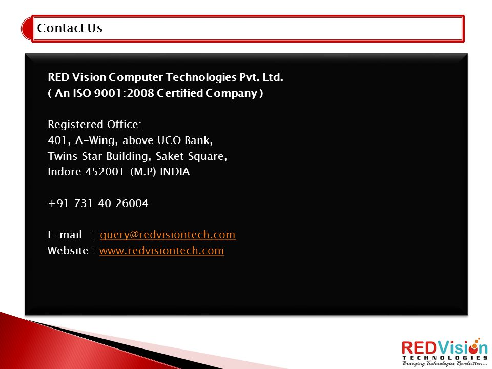 Contact Us RED Vision Computer Technologies Pvt. Ltd.