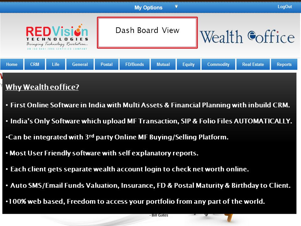 Dash Board View Why Wealth eoffice