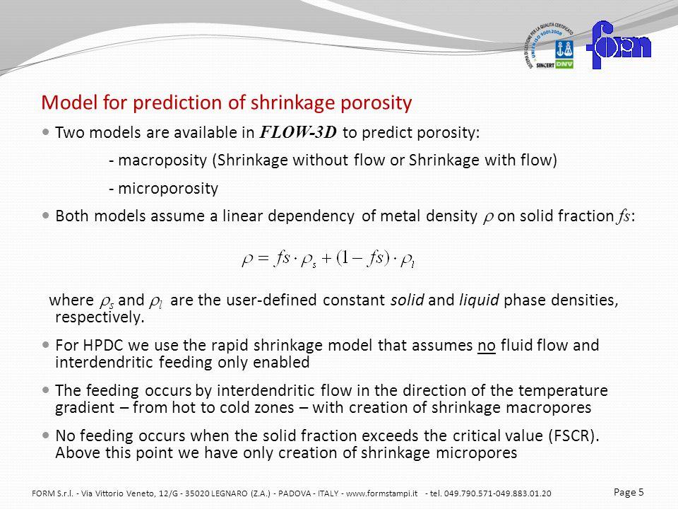 Model for prediction of shrinkage porosity