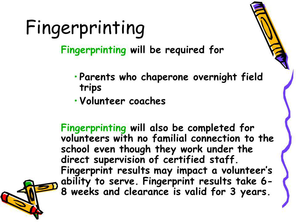 Fingerprinting Fingerprinting will be required for