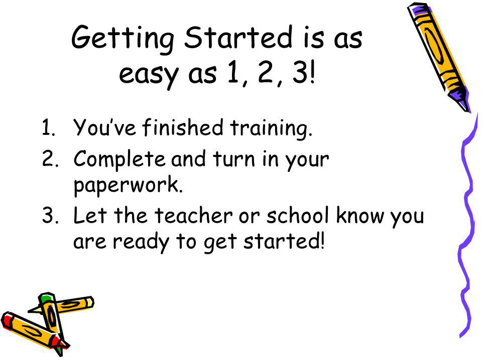 Getting Started is as easy as 1, 2, 3!