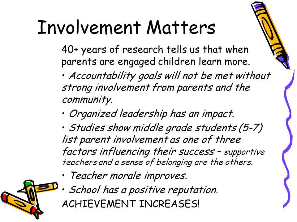 Involvement Matters 40+ years of research tells us that when parents are engaged children learn more.