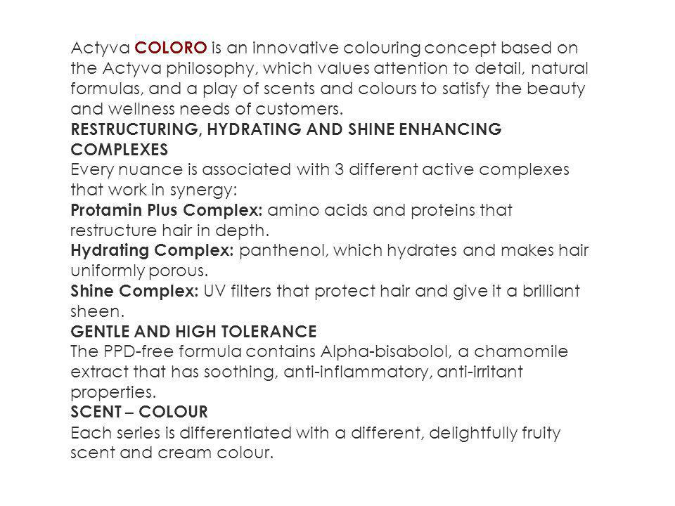 Actyva COLORO is an innovative colouring concept based on the Actyva philosophy, which values attention to detail, natural formulas, and a play of scents and colours to satisfy the beauty and wellness needs of customers.