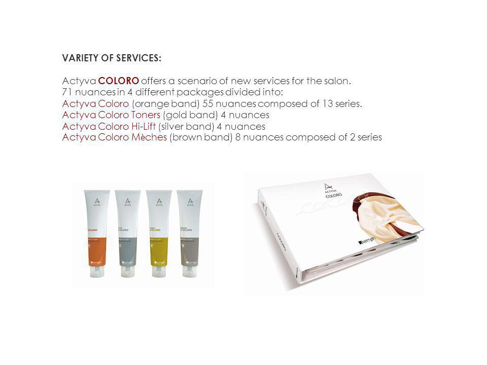 VARIETY OF SERVICES: Actyva COLORO offers a scenario of new services for the salon.