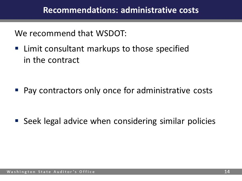 Recommendations: administrative costs