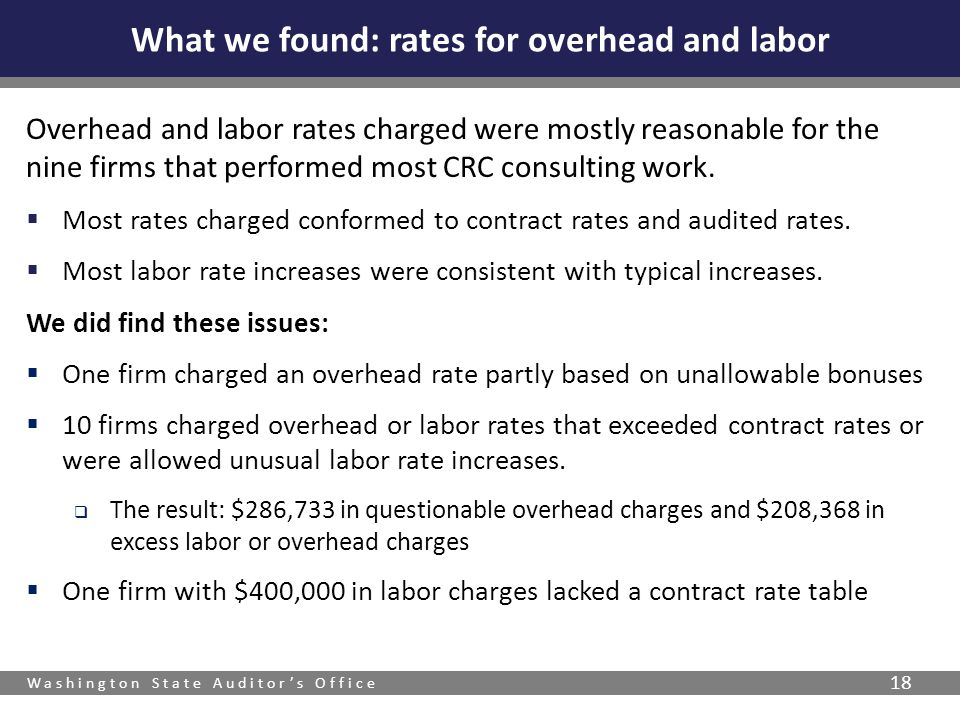 What we found: rates for overhead and labor