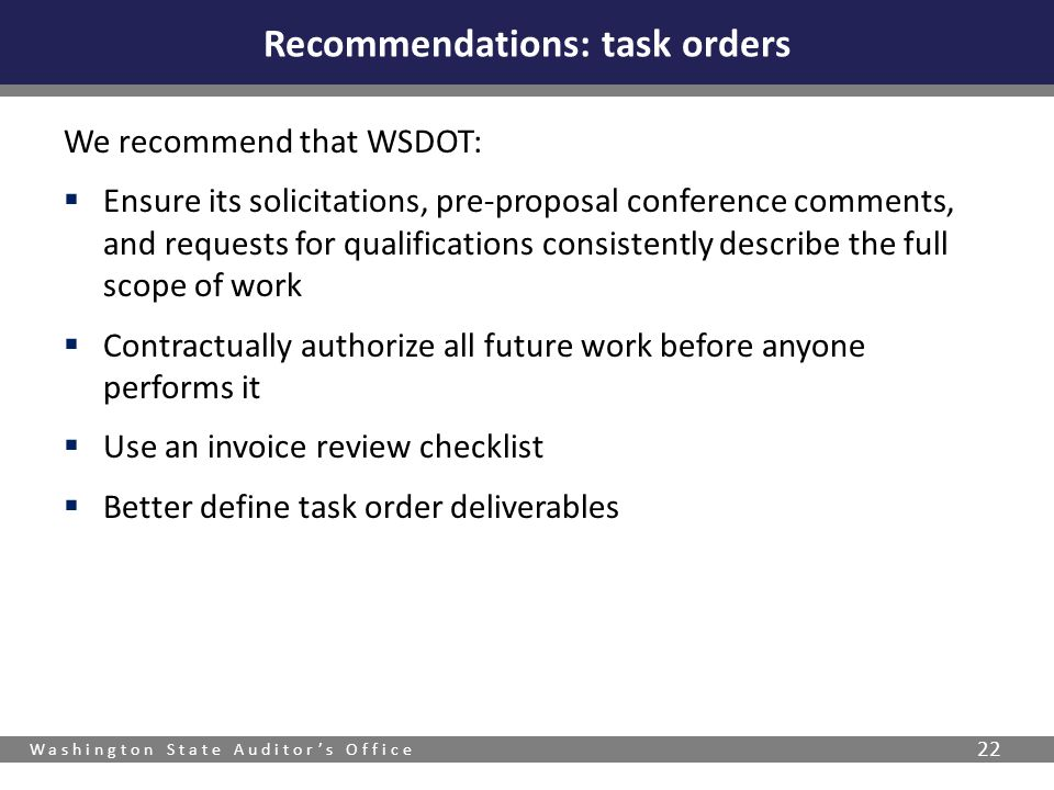 Recommendations: task orders