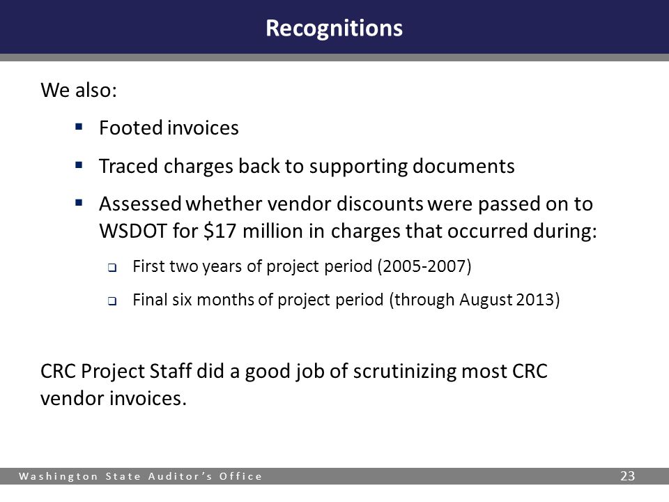 Recognitions We also: Footed invoices