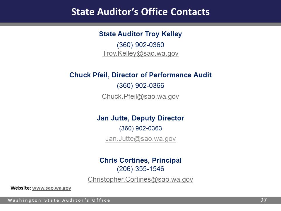 State Auditor's Office Contacts
