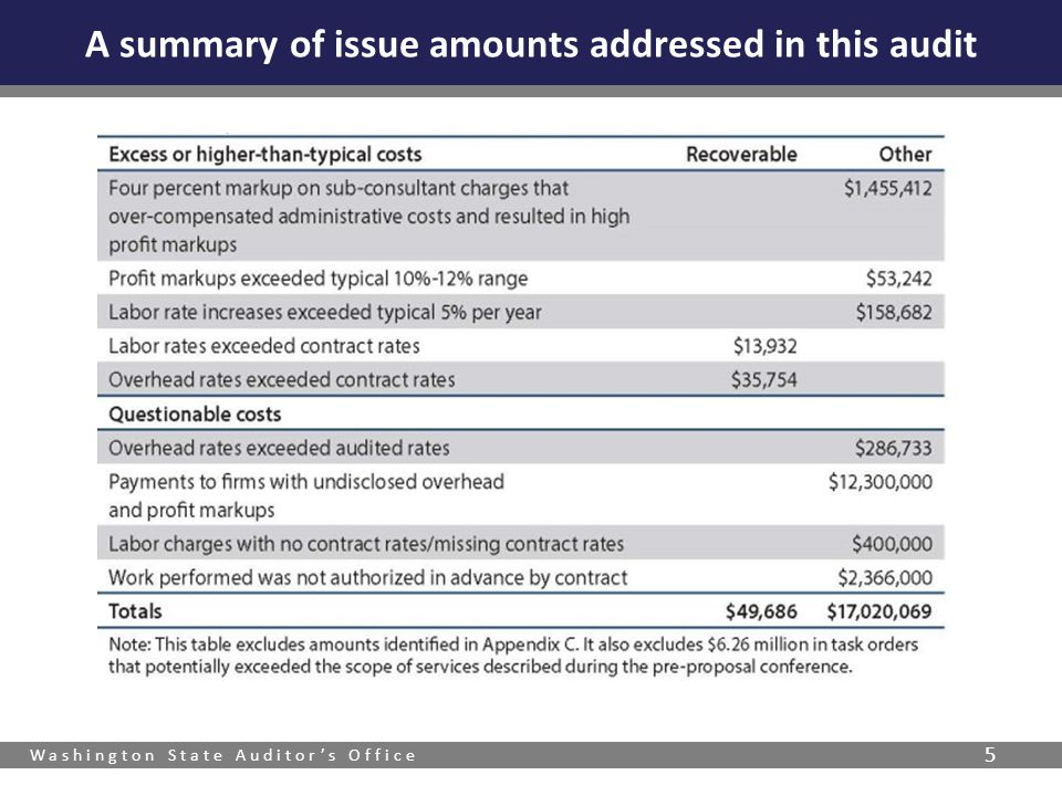 A summary of issue amounts addressed in this audit