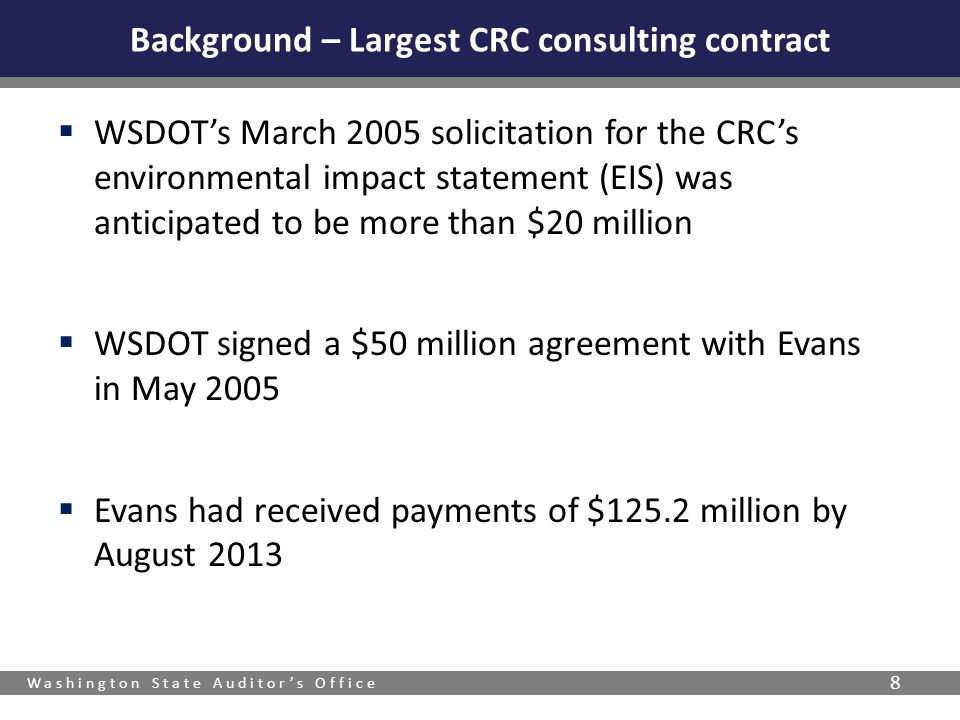 Background – Largest CRC consulting contract