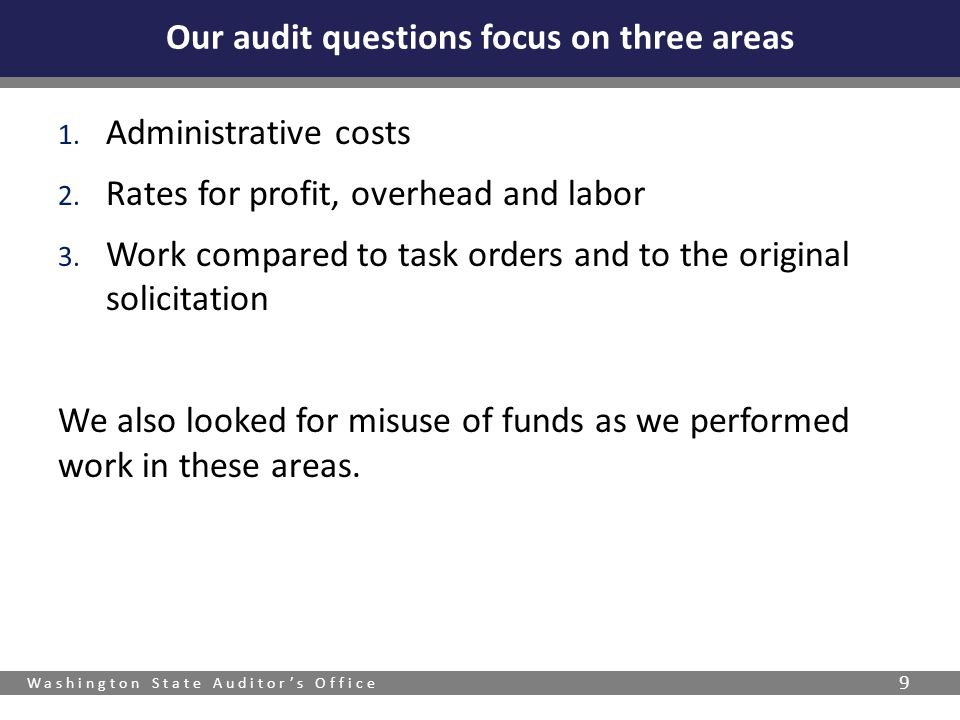 Our audit questions focus on three areas