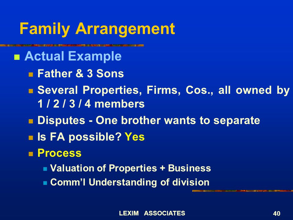 Family Arrangement Actual Example Father & 3 Sons