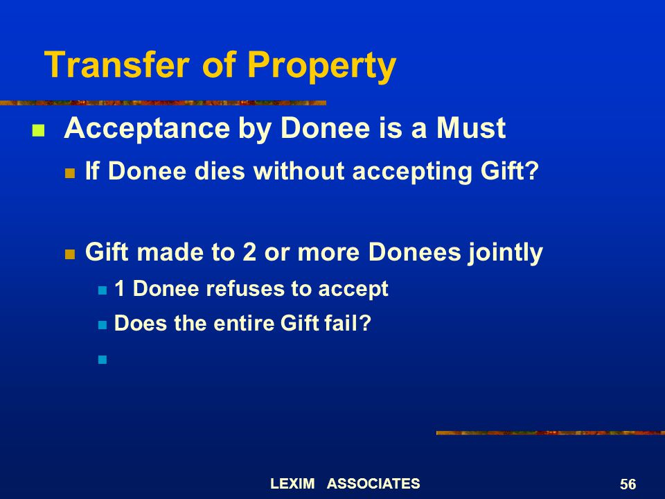 Transfer of Property Acceptance by Donee is a Must