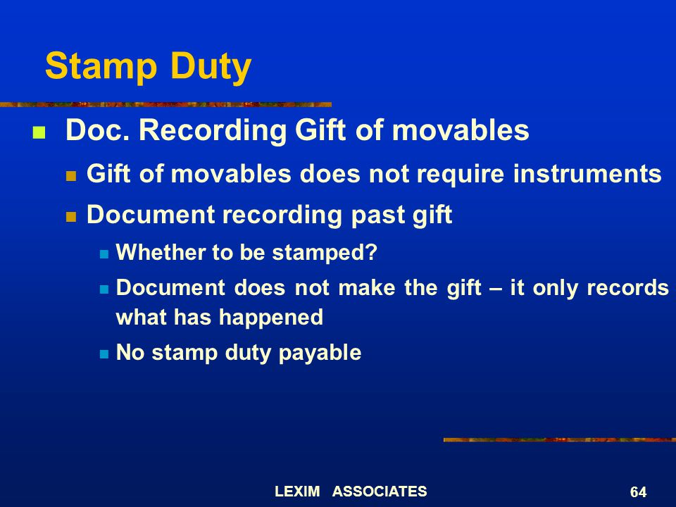 Stamp Duty Doc. Recording Gift of movables