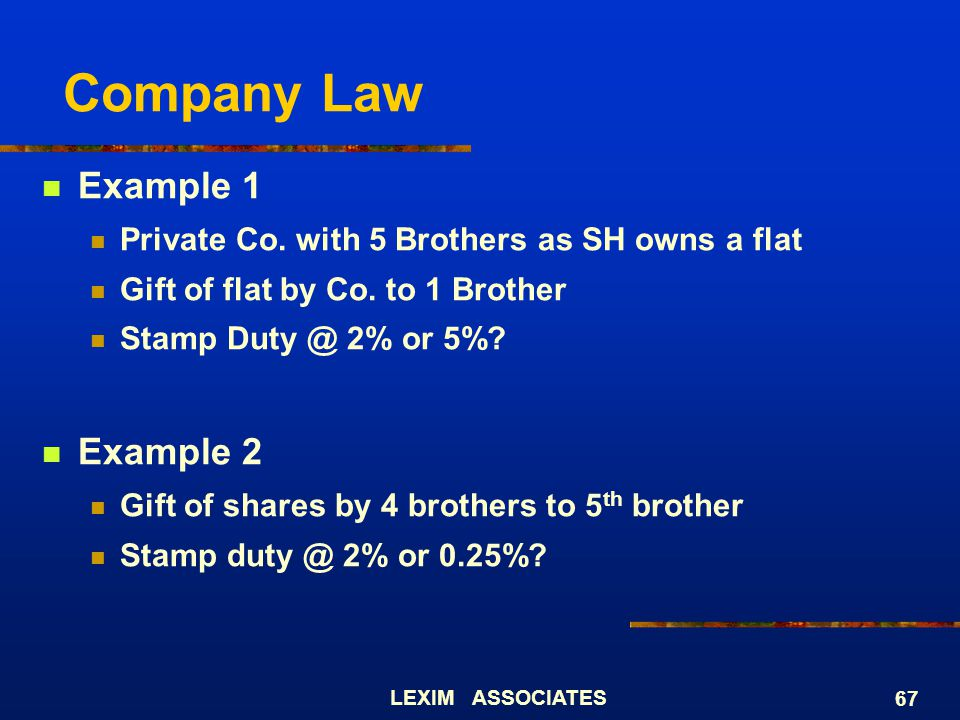 Company Law Example 1 Example 2