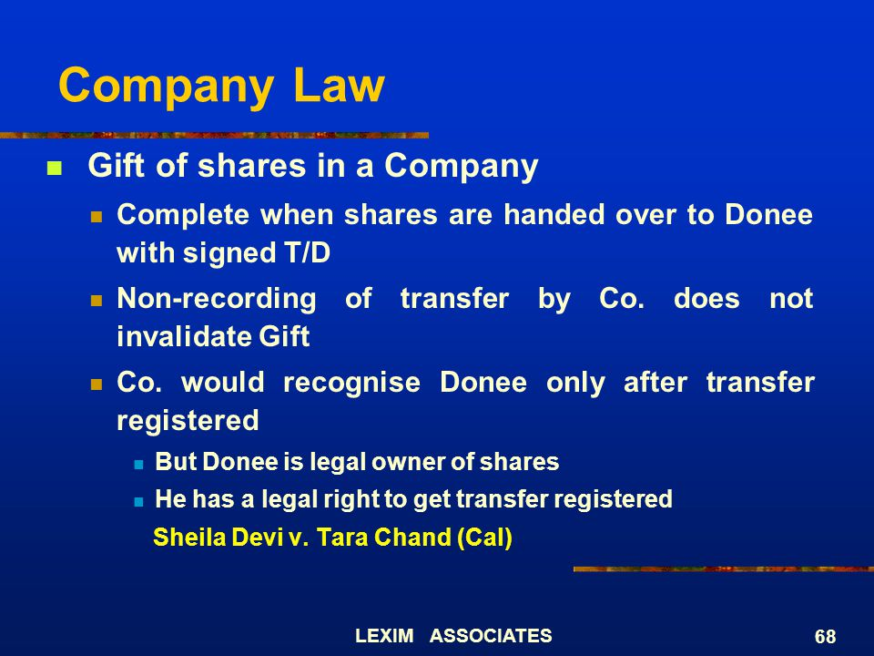 Company Law Gift of shares in a Company