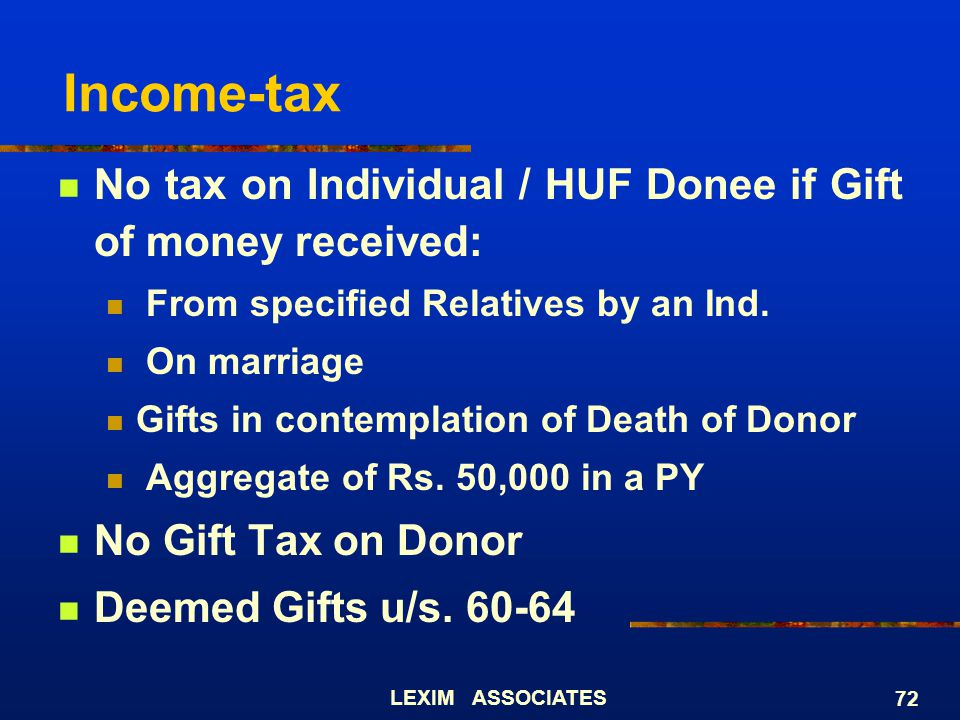 Income-tax No tax on Individual / HUF Donee if Gift of money received: