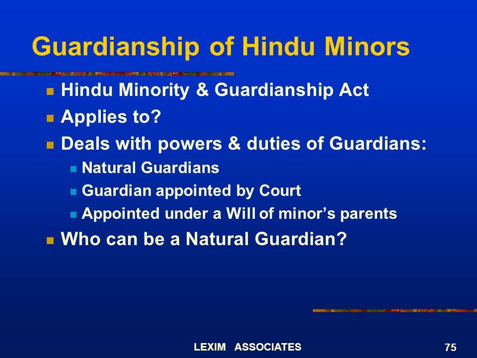 Guardianship of Hindu Minors