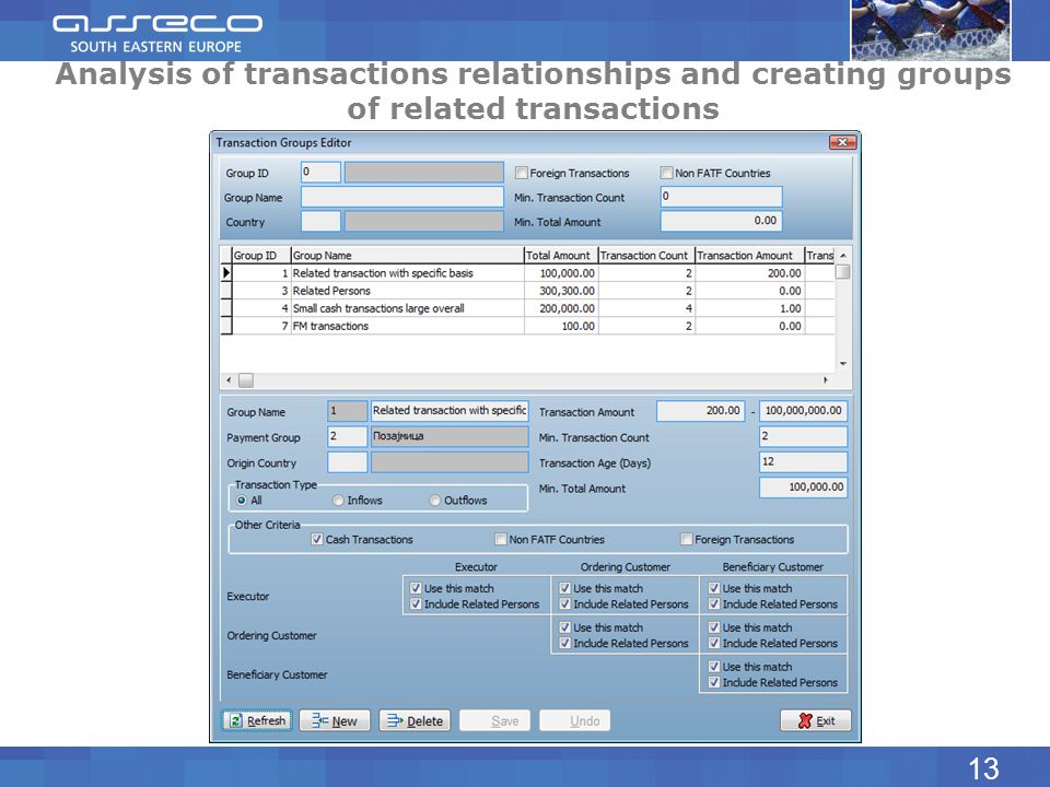Analysis of transactions relationships and creating groups of related transactions