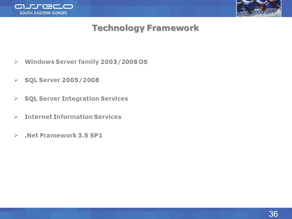 Technology Framework 36 Windows Server family 2003/2008 OS