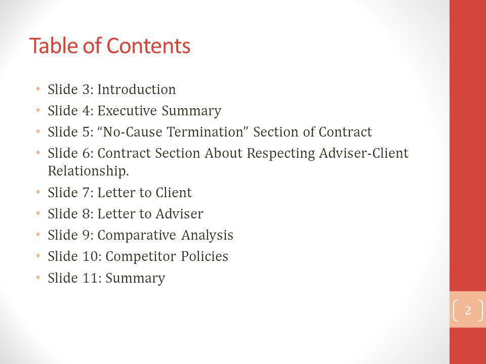 Table of Contents Slide 3: Introduction Slide 4: Executive Summary