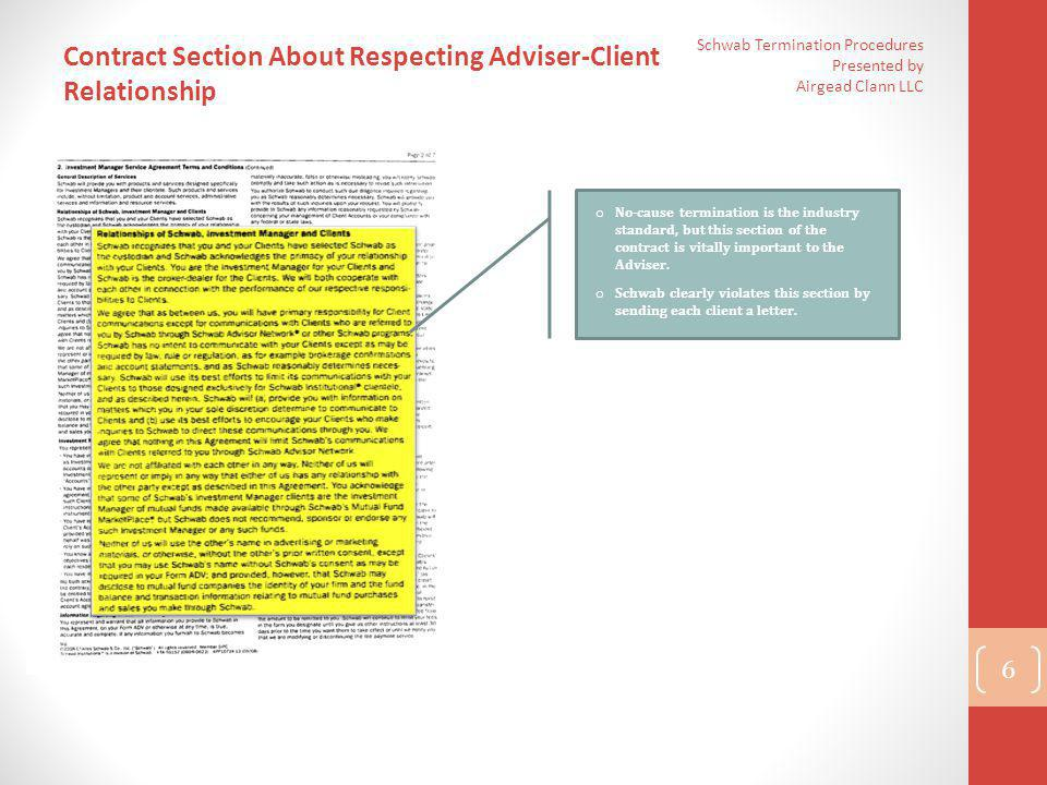 Contract Section About Respecting Adviser-Client Relationship
