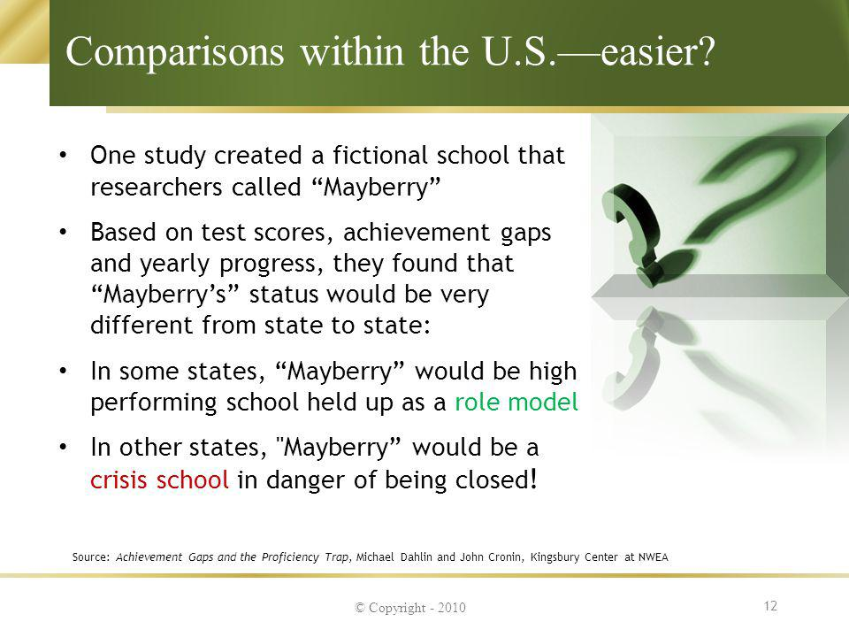 Comparisons within the U.S.—easier