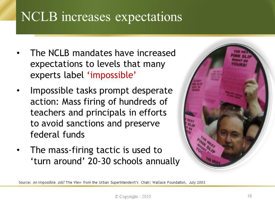 NCLB increases expectations