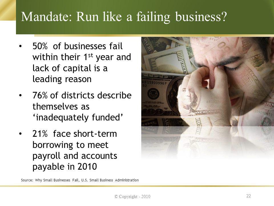 Mandate: Run like a failing business