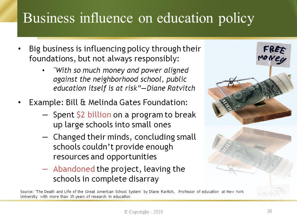 Business influence on education policy