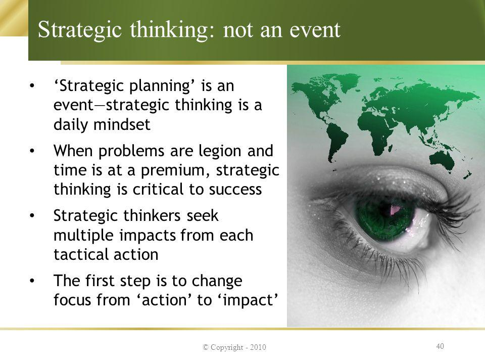 Strategic thinking: not an event