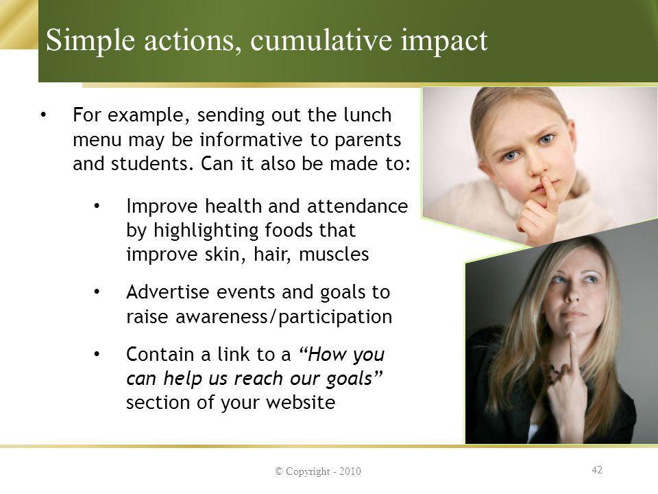Simple actions, cumulative impact