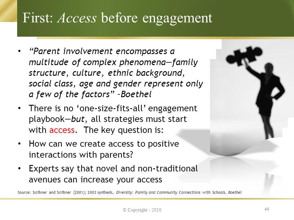 First: Access before engagement