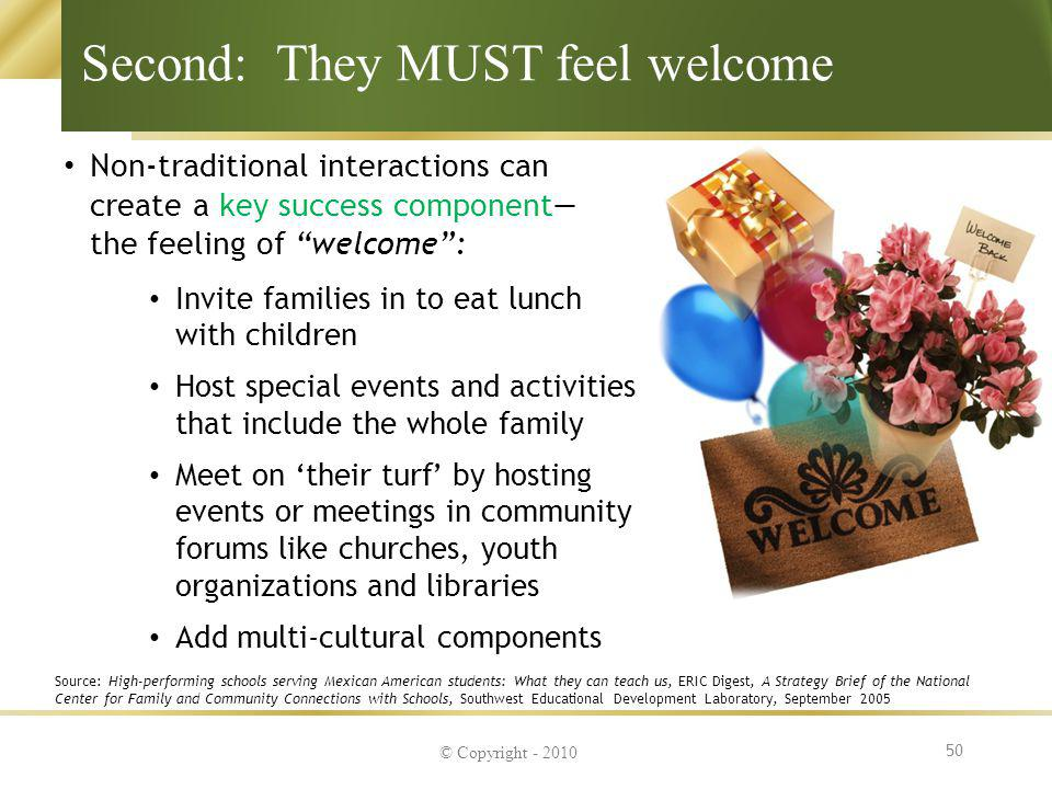 Second: They MUST feel welcome