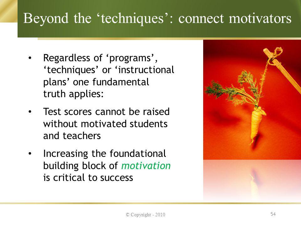 Beyond the 'techniques': connect motivators