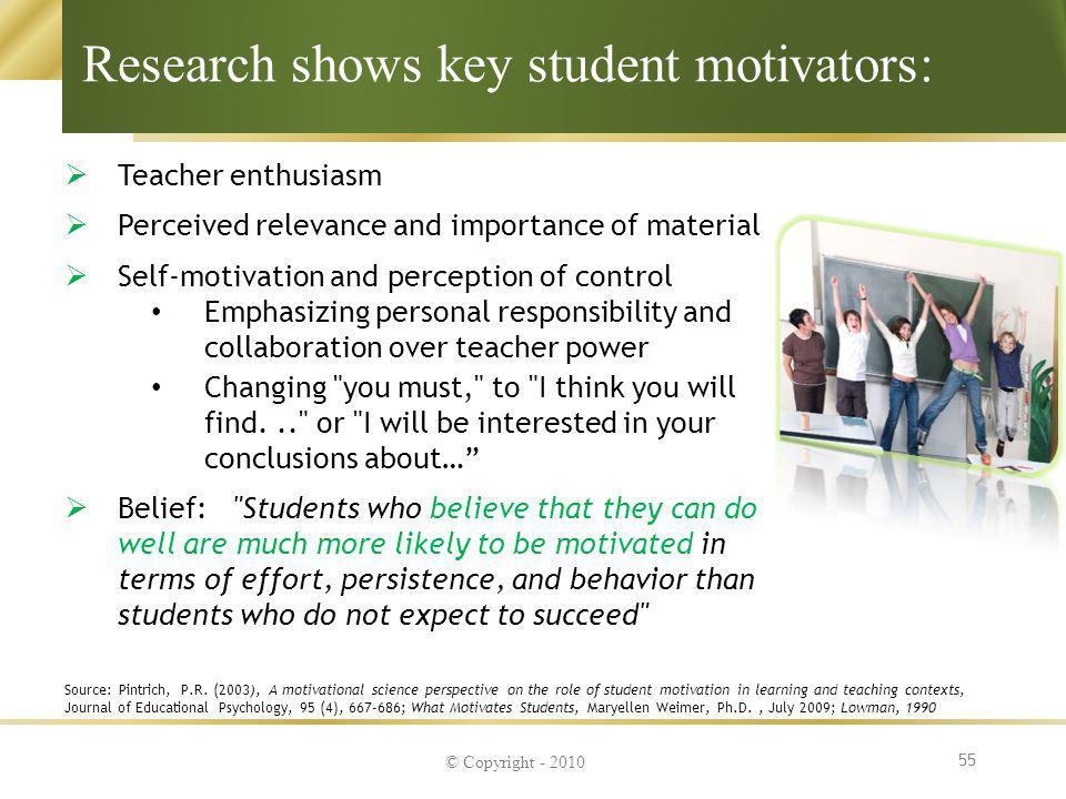 Research shows key student motivators: